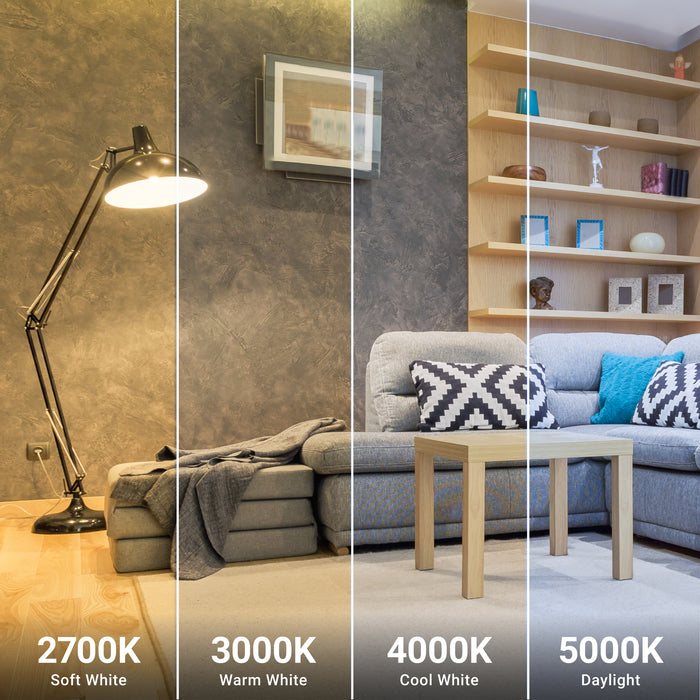 Sunco LED light bulbs are available in various color temperatures. This 9W A19 LED Bulb is available in 2700K Soft White, 3000K Warm White, 4000K Cool White, and 5000K Daylight. Image shows a modern living room with a floor lamp and our A19 LED inside. The artist has split the image into multiple frames to show you what the light quality would look like for each color temperature. Customer Service can provide more details if you are unsure which color temperature is right for you.