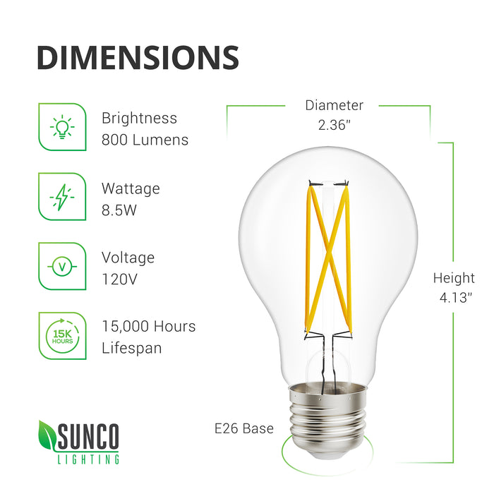 A19 LED Filament Bulb with Dusk to Dawn technology Dimensions. Diameter: 2.36 inches, Height: 4.13 inches, Base: E26. Other specs: Brightness: 800 Lumens, Wattage: 8.5W, Voltage 120V and a 15,000 hour lifespan. The Filament bulb style is a popular retro style with the vintage look of filament wires inside a glass bulb. LED filaments feature the same look and feel of traditional filament glass bulbs, but with high tech, low wattage consumption, and a long lifespan.