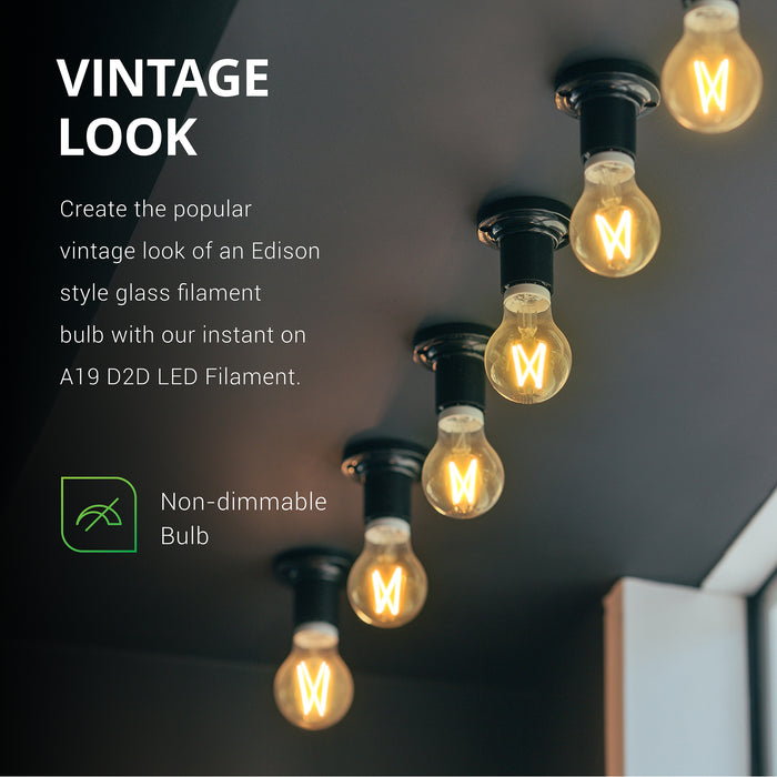 Vintage Look. Create the popular vintage look of an Edison style glass filament bulb with our instant on A19 D2D LED Filament. This is a non-dimmable bulb with an amber glow. Image shows bulbs in sockets on a ceiling of a display window. Great for adding retro styling to your commercial location.
