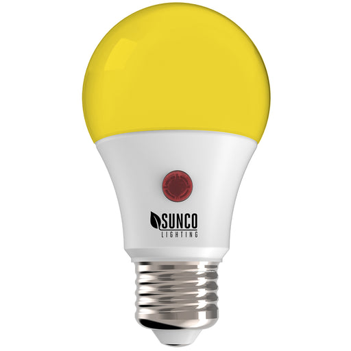 Sunco Lighting A19 Dusk to Dawn Yellow LED Bulb repels insects. This 9W bug repellent LED light bulb has a long lifespan and offers 480 lumens of warm, yellow hued light. The bulb includes a D2D photocell sensor to detect light levels and automatically turn on or turn off the light, depending on the light detected. It turns off at dawn and on at night. No timer needed and you also save money on your electrical bill by using the bulb only when it is needed most.