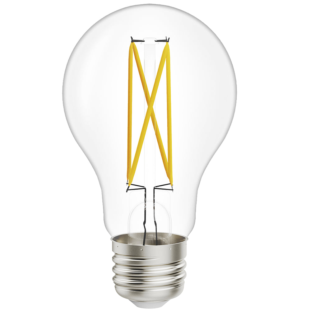 The Sunco A19 LED Filament Bulb with Dusk to Dawn features the retro look of a glass Edison style bulb with high tech inside. Our glass light bulb includes the familiar filament, but with LED technology on what people refer to as the filament coils.