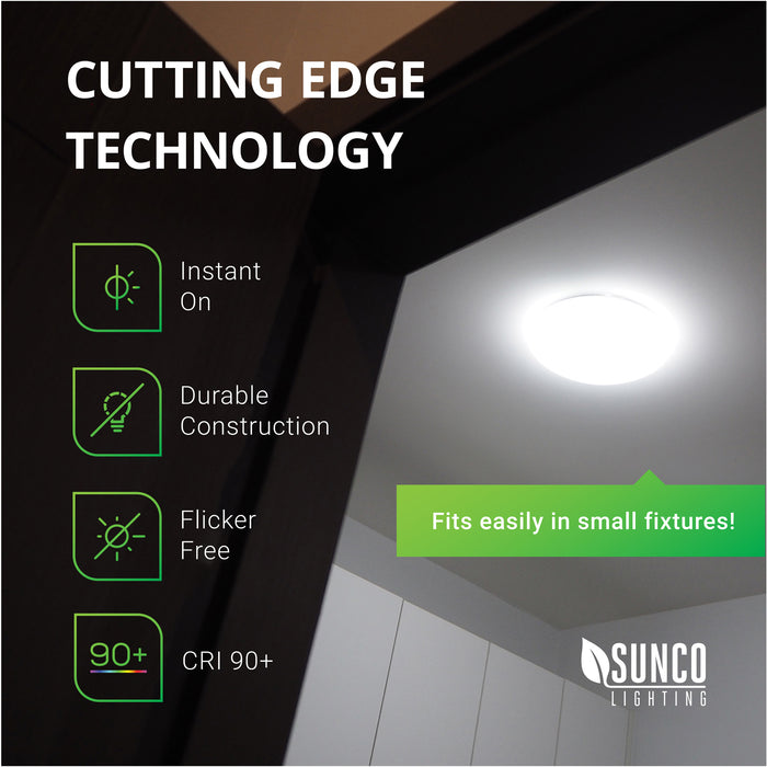 Cutting Edge Technology. The Sunco A19 GU24 LED bulb fits easily in small fixtures. The features include: instant on, damp rated, flicker-free, and a twist and lock GU24 base. Image shows laundry room ceiling light with small glass dome to provide lighting application example.