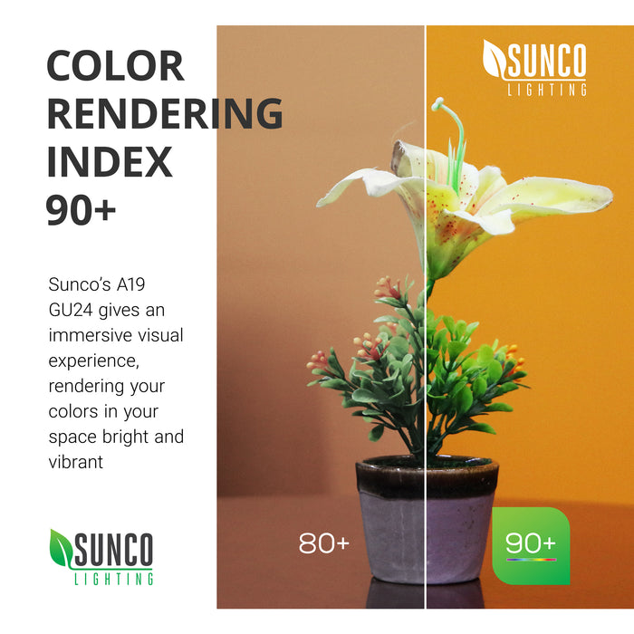 Color Rendering Index 90 plus. Sunco's A19 GU24 LED bulb gives an immersive visual experience, rendering your colors in your space bright and vibrant. Image shows a plant under simulated conditions to show 80 and 90 CRI ratings with more vibrant color in the 90 plus side. High CRI delivers true color rendering for accurate color with detailed textures.