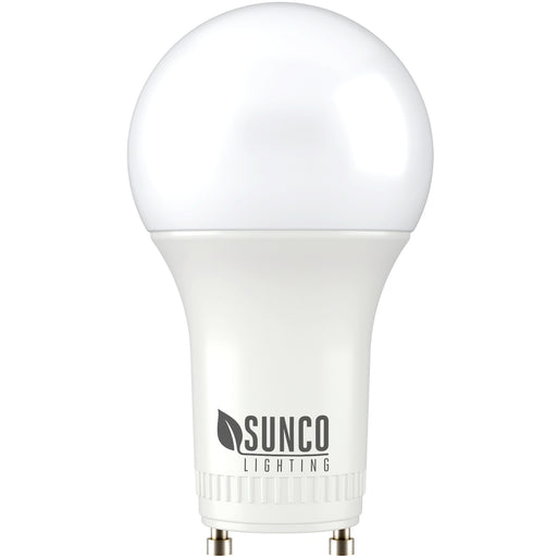 A19 GU24 LED bulb with twist and Lock Pin Base. Sunco Lighting logo on base of bulb.