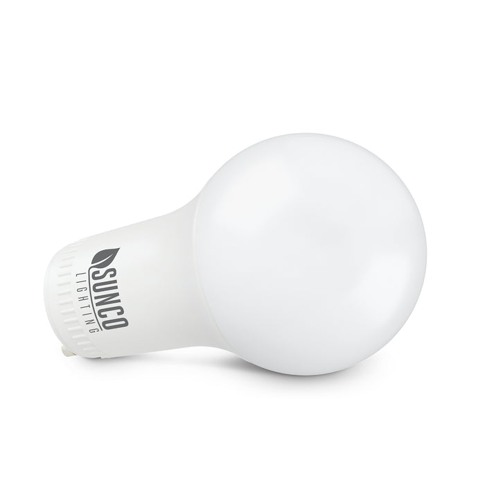 A19 GU24 LED Bulb viewed at an angle. This energy efficient light bulb is a 9W LED. It offers the same light as a 60W incandescent bulb and is Title 20 compliant for sale in California. It is an ideal LED replacement bulb for a CFL light bulb. It features 800 lumens of brightness. Since the bulb is more compact, due to the pin base instead of a screw base, it can fit in smaller ceiling light fixtures with glass domes. Be sure your fixture accepts GU24 base bulbs.