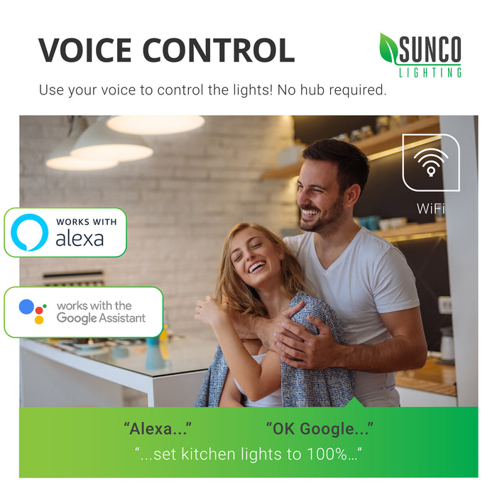 Use your voice to control the lights with the Sunco A19 LED Smart Bulb. Remotely control the LED Smart Bulb settings with your smart device and an app over WiFi. Voice control works with Amazon Alexa or Google Assistant. Image shows a couple laughing in a kitchen and the captions: Alexa, set kitchen lights to 100 percent and OK Google, set kitchen lights to 100 percent.