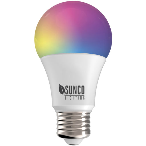 Sunco Lighting convenient A19 LED Smart Bulb Dimming color temperature hue rainbow voice control No Hub required app schedules scenes music sync Alexa Google Assistant ENERGY EFFICIENT SUSTAINABLE Bulk Buyer options available image shows multiple hues in