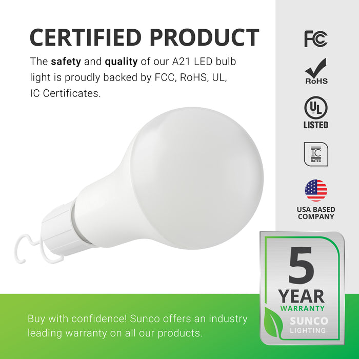 Certified Product. Sunco products are proudly backed by certificates to ensure the safety and quality of the products we sell. Our A21 Emergency LED Light Bulb is proudly backed by FCC, UL, and RoHS Certificates. It is also IC Rated with a damp rating. In addition, Sunco offers an industry leading warranty on all our products. This portable LED light bulb is covered by a 5-Year Warranty.