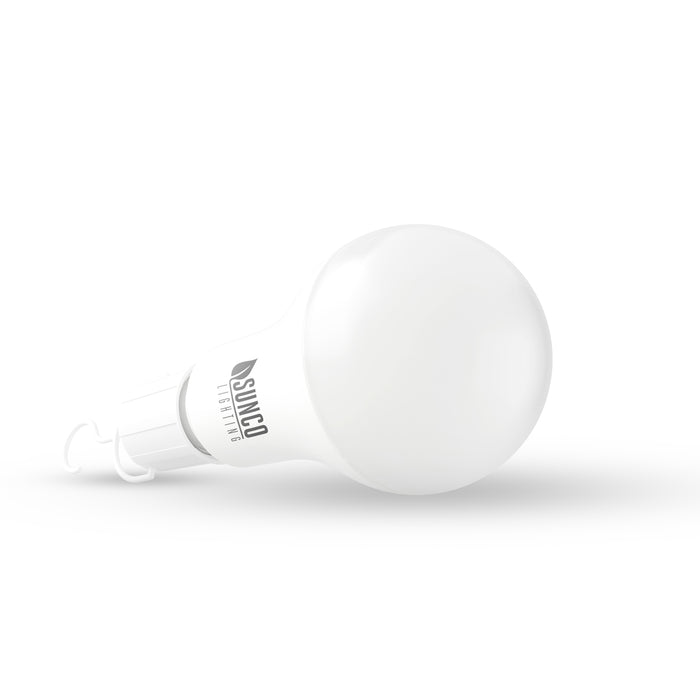 Sunco A21 Emergency LED Bulb with hanging hook attached. Sunco Lighting A21 emergency portable rechargeable led light bulb dimmable lighting 5% to 100% full dimmer list available on manuals and documentation page or call customer service smooth dimming recommended dimmers American owned business