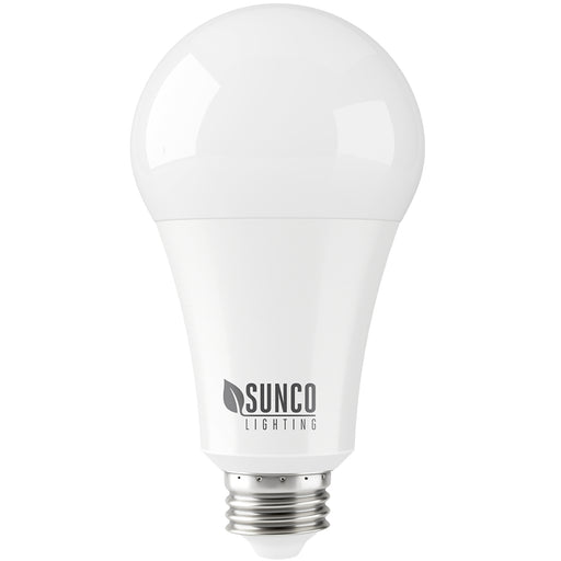 Our Sunco A21 Ultra Bright LED Light Bulb offers 2550 lumens of bright light and consumes only 22 watts. A 150W equivalent, this LED bulb features an E26 base and can be used in most household light fixtures. It also works well in retail spaces and ceiling area lights to replace outdated and high energy consuming 150 watt halogen bulbs. Durable housing and a long lifetime mean you will do less relamping than traditional bulbs.