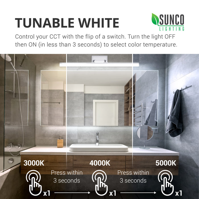 Tunable White. Control your CCT with the flip of a switch. How to Change the Color Temperature on the Alta Tunable White Vanity Light Fixture: Turn the light OFF then ON (in less than 3 seconds) to select color temperature. You have 3 CCT options to choose from: 3000K, 4000K, 5000K. Flip off/on once for 3000K, wait 3 seconds, flip off/on once for 4000K, wait 3 seconds, flip off/on once for 5000K. Cycle through all options until you find the one you want.