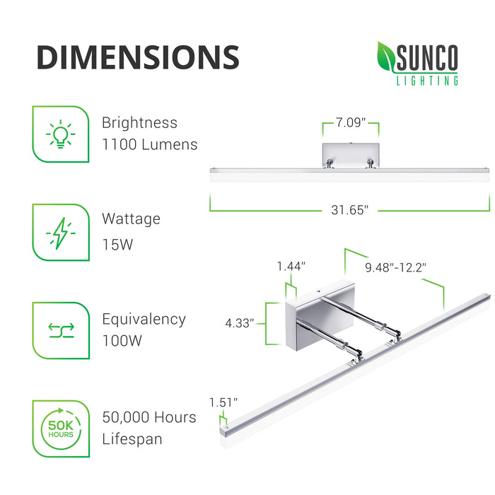 Dimensions of Alta Tunable White Vanity Light Fixture. Brightness: 1100 lumens, Wattage: 15W, Equivalency: 100W, Lifetime: 50,000 hour lifespan. Dimensions include: Bar Length: 31.65 inches, Bar Width: 1.51 inches. Fixture Base: 7.09 inches x 4.33 inches x 1.44 inches. Bar extends from 9.48 inches out to 12.2 inches away from fixture base. Image shows top view of modern bar light fixture. Note twist caps on the dual extension arms for easy adjustment.