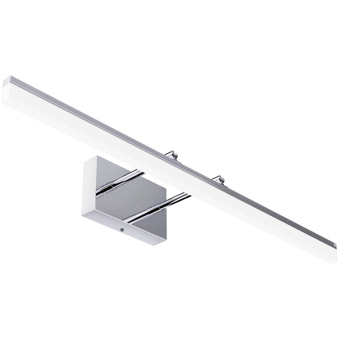 Sunco Lighting Alta Modern Bar LED Vanity Light with Tunable White features 3 color temperature choices you can select with a light switch. Follow the simple instruction manual to install this adjustable vanity light with selectable CCT. Image shows the vanity light seen from below. Note the dual telescoping arms which extend the light away from or closer to the fixture base or canopy. The streamlined look of a bar vanity light suits bathrooms, makeup mirrors, and much more.