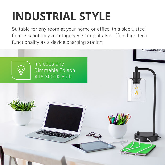 Industrial Style. Suitable for any room at your home or office, this sleek, steel fixture is not only a vintage style lamp, it also offers high tech functionality as a device charging station. Includes one dimmable Edison A15 3000K Bulb with glass housing and LED filament inside. Image shows lamp on desktop with tablet charging. The included Filament bulb offers a warm tone to any white walled room, which makes it great for offices.