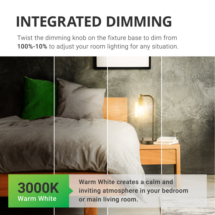Integrated Dimming. Twist the dimming knob on the fixture base to dim from 100-10% to adjust your room lighting for any situation. Includes a 3000K Warm White color temperature A15 LED bulb with filament. Sunco's Warm White creates a clam and inviting atmosphere in your bedroom or main living room. Shown here on a bedroom nightstand to lend a warm glow to your evening wind down. The convenient ports in base are handy for charging your phone overnight.