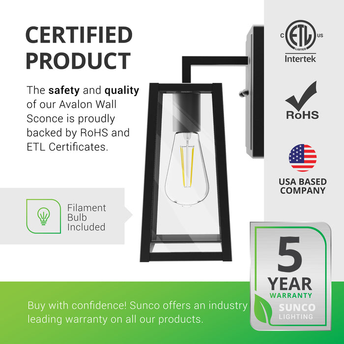 Certified Product. The safety and quality of our Avalon Wall Sconce is proudly backed by ETL and RoHS certificates. Note that an ST64 LED Filament Bulb is included with this wall light. Sunco offers an industry leading warranty on all our products. Sunco is American owned and operated. We offer warranties on all our products. This product is backed by a 5-year warranty.