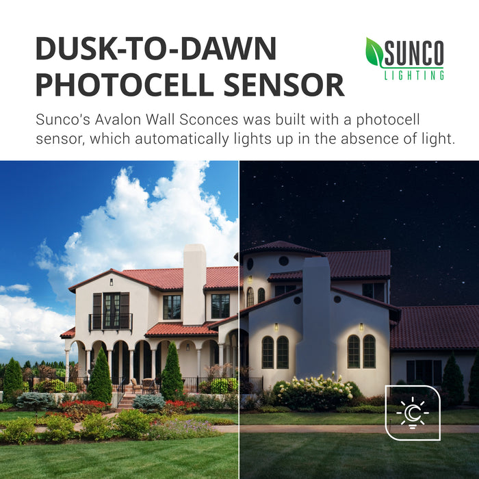 Dusk to Dawn Photocell Sensor. Sunco's Avalon Wall Sconce was built with a photocell sensor that automatically lights up in the absence of light. This means no timer is required. You can use the bulb in exterior applications for nighttime light on the exterior of your home or commercial building. The image shows a Spanish tiled roof home with bright sun on one half and night on the other. Our D2D LED light fixture has turned on automatically at night and will do so even when you are out.