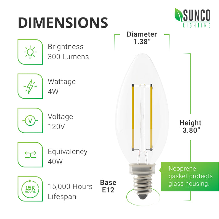 Sunco B11 LED Candelabra Filament Bulb with Dusk to Dawn Dimensions. Diameter: 1.65 inches, Height: 4.69 inches, Base: E12. Other specs: Brightness: 500 Lumens, Wattage: 5W, Voltage 120V, and a built in Dusk to Dawn sensor.