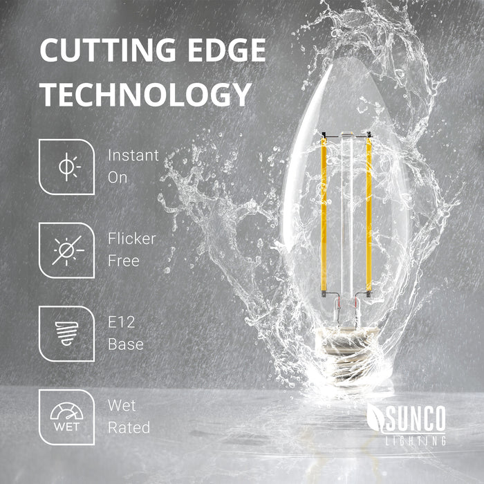 Wet Rated B11 LED Candelabra Bulb filament offers cutting edge LED technology with: instant on, a bulb that is flicker-free, dimmable, and with an E12 base. Clear glass bulb with LED filaments inside.