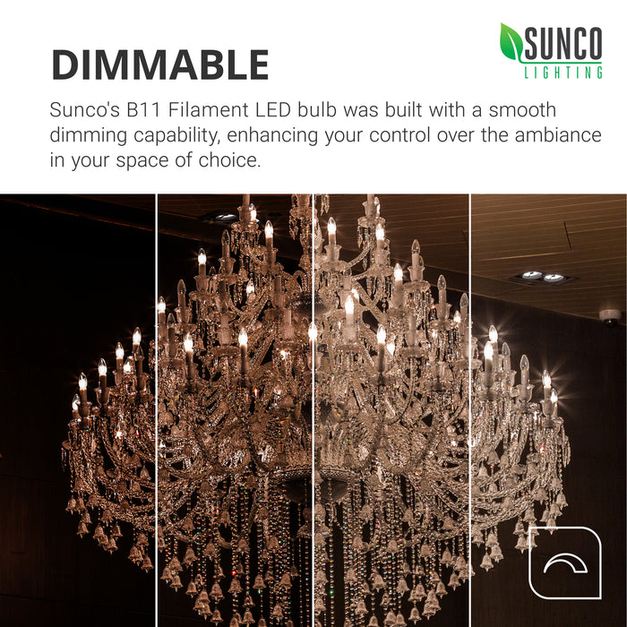 Sunco B11 LED Candelabra Bulb Filament Dimmability. Sunco's A19 3W offers smooth dimming so you can quickly set the mood and tone of a room's ambiance. Image shows multiple LED bulbs in a crystal chandelier.