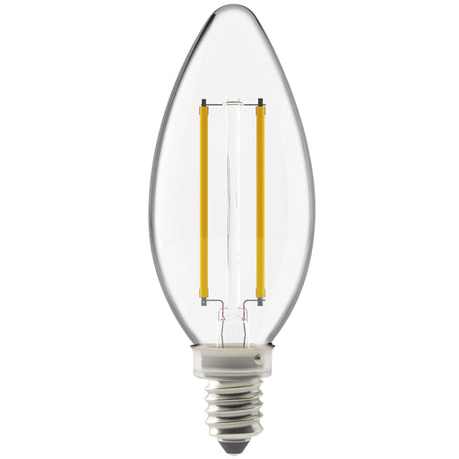 Our Sunco B11 LED Candelabra Bulb features LED Filament inside a durable and clear, glass housing. LED Bulb has an E12 base. Great for chandeliers and wall sconces. Wet Rated for outdoor use like in string lights, porch lights, or other light fixtures with an E12 socket. Image shows bulb with bright LED filament wires visible inside.