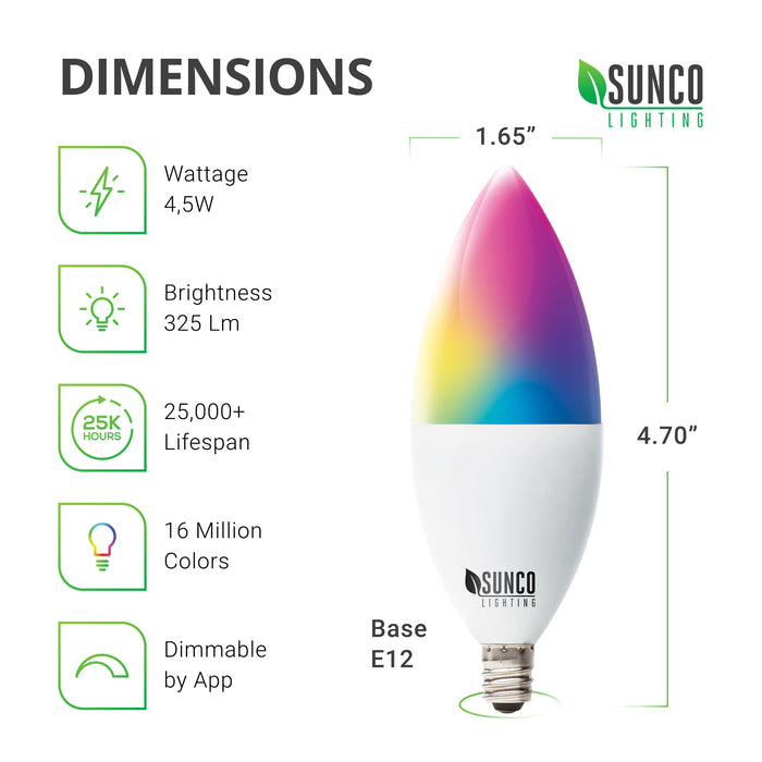 Dimensions of the B11 Candelabra LED Smart Bulb. Diameter: 1.65 inches, Height: 4.70 inches, Base: E12. Other technical specs include wattage: 4.5W, Brightness: 325 lumens. This LED smart bulb includes the choice of 16 million colors, smooth dimming capabilities, and a tunable white. There are many other settings you can control on this light.