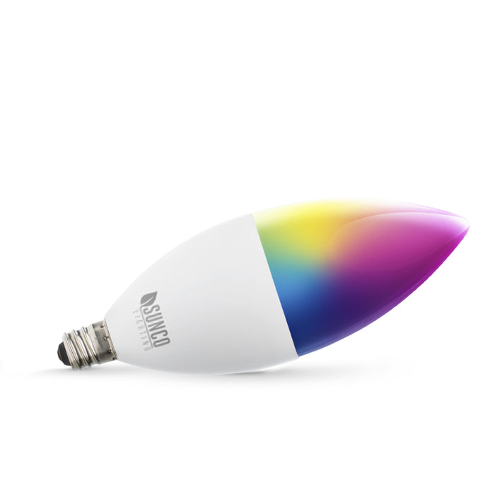 Control the lights with a smart device, the Sunco B11 LED Smart Bulb, and an easy to use app over WiFi. This smart light is ideal in chandeliers and wall sconces. Since it is wet rated you can use it outside, too! Image shows an artist's impression of changing colors on the bulb. Actual LED bulb is white.