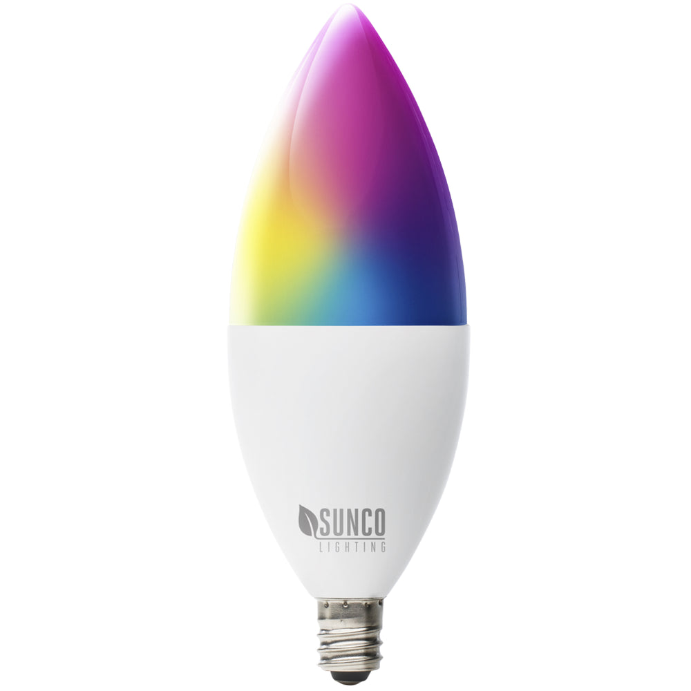 Change your light settings with the Sunco B11 LED Smart Bulb using your smart device and an app over WiFi. This LED bulb with a small E12 base fits in chandeliers and wall sconces. You can control light color temperature, warm color or cool color, smoothly dim the lights, select from millions of color choices on a color wheel, schedule lights on or off at set schedule times, music sync to the music, or voice control with your Amazon Alexa or Google Assistant. Bulk Buyer options available