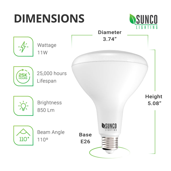 Dimensions of BR30 LED Bulb. Diameter: 3.74 inches, Height: 5.08 inches, with an E26 base. This is an instant on LED with a 25,000 hour lifespan. The beam angle is 110 degrees. That means this makes a great flood light for ceiling light fixtures and recessed cans.