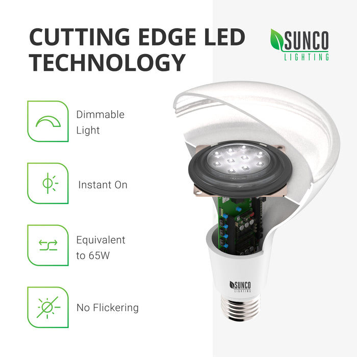 Check out the cutting edge LED technology of the Sunco BR30 LED Bulb, seen here in a cutaway with the LED board visible inside its durable housing. This 11W LED light bulb offers dimmable light. Wattage may be 11W yet it is a 65W equivalent due to its brighter lumen count of 805 lm compared to traditional bulbs. This light is an ideal downlight for ceilings and recessed lighting. Swap out the bulb and see energy savings just by a lower wattage and a longer lifetime of 25,000 bulb hours. Bulk Buy available.
