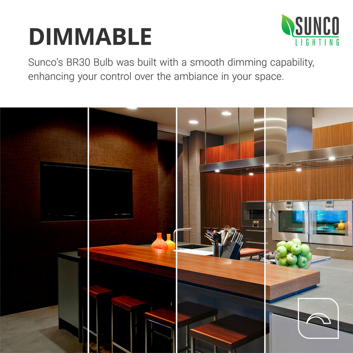 The dimmability of the Sunco BR30 LED bulb covers from 100 percent to 10 percent. This smooth dimming can enhance the control of your room mood and style. Dim your light to change the look of your space. These LED replacement downlights work well as a flood light for ceilings. Image shows a kitchen, dining, and living room with BR30 LEDs in recessed cans. Bulk Buying available.