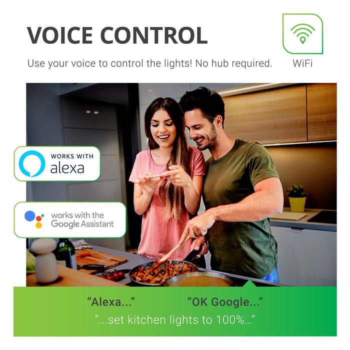 Voice Control is possible with the Sunco BR30 LED Smart Bulb. You can use your voice to control the lights. Voice Control works with Amazon Alexa and Google Assistant. Image shows a couple cooking in a kitchen together with BR30 LEDs in downlights above them. Caption says Alexa, set kitchen lights to 100 percent. You can also say OK Google to change the light settings.