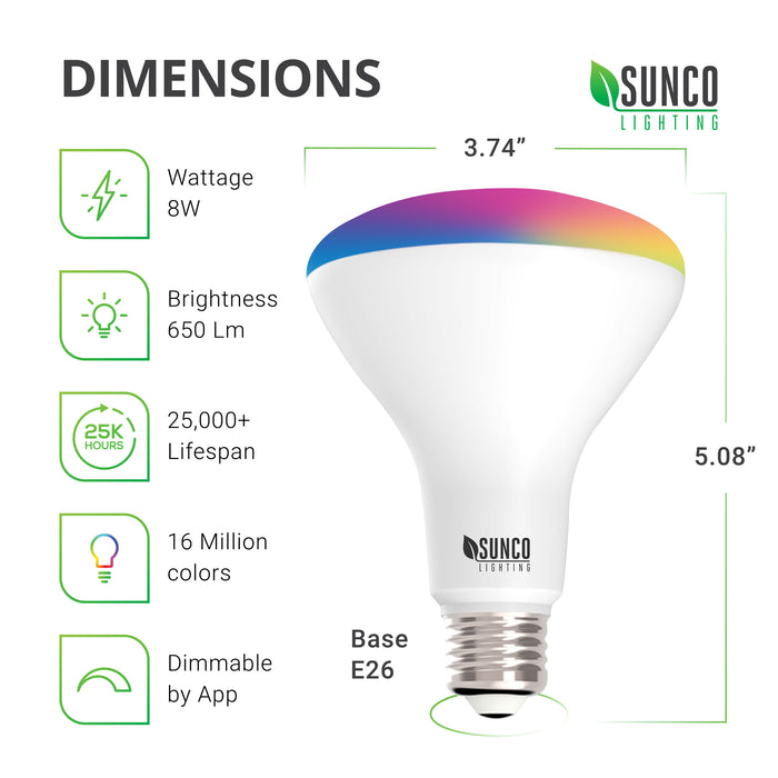Dimensions of the BR30 LED Smart Bulb diameter: 3.74 inch, height: 5.08 inch and base is E26. Technical specs include Wattage: 8W, Brightness 650 lumens, choice of 16 million colors, along with tunable white and smooth dimming. This convenient light bulb allows you to change light settings.