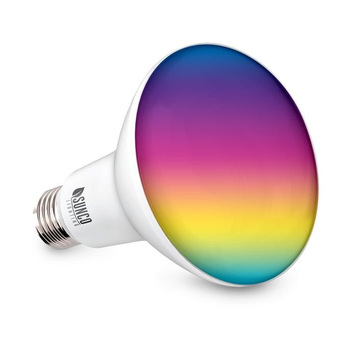 sunco lighting led light bulb BR30 smart bulb with rainbow hue color choices you can control bulb via Smart life app and your smart phone or tablet over wifi