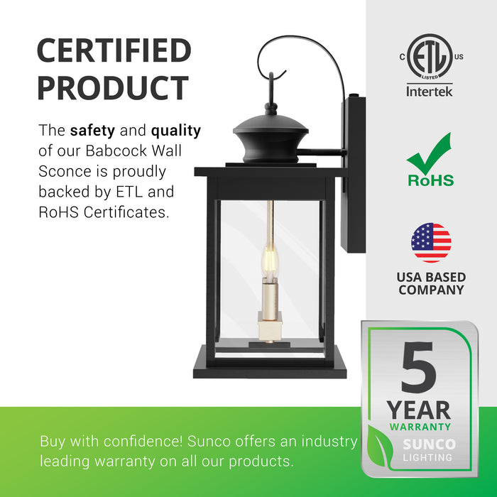 This is a certified product. The safety and quality of our Babcock 2-Head Caged Wall Sconce with its decorative lantern made of durable iron with glass panes is backed by ETL and RoHS certificates. Sunco offers an industry leading warranty on all our products. The Babcock Wall Sconce with Dusk to Dawn technology has a 5-year warranty. Sunco is American owned and operated. We are based in the USA.