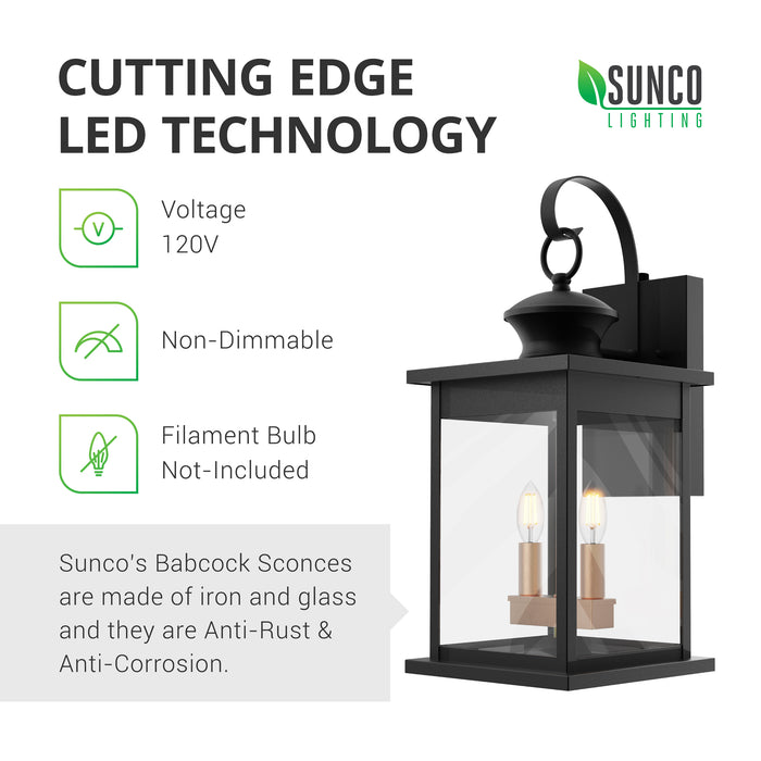 Cutting Edge LED Technology. Sunco's Babcock Sconces are made of glass and iron. They are anti-rust and anti-corrosion to resist the elements. These 120V, wet rated lighting fixtures are best used outdoors to apply their Dusk to Dawn technology to your outdoor lighting. This is a non-dimmable fixture. Filament bulbs shown in the 2-head E12 sockets are not included with the sconce.