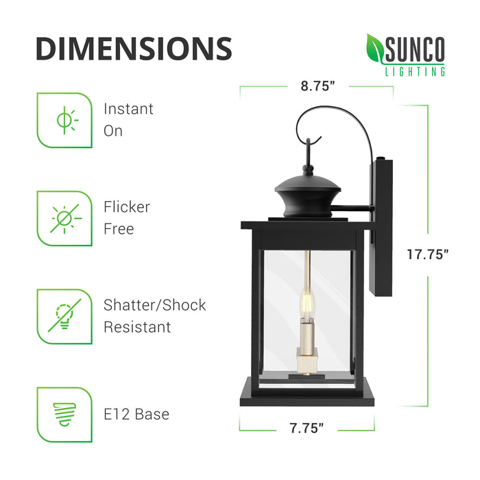 Dimensions of the Babcock 2-Head Caged Wall Sconce with Dusk to Dawn technology. Height: 17.75-inches, 8.75-inches deep (from front of hanging lantern to back of wall plate), Width: 7.75-inches. This is an instant on, flicker free light fixture with two E12 sockets to accept candelabra base bulbs (not included). This is a shatter- and shock-resistant fixture that is made of rust-resistant iron with a matte black finish.
