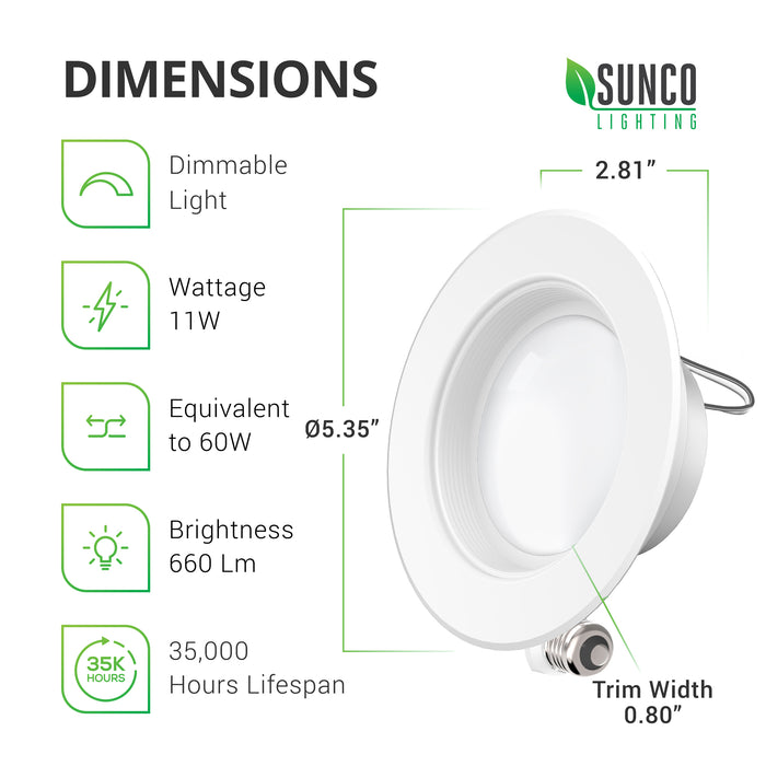 Dimensions of the 4-Inch Recessed LED Downlight. Width: approximately 5.39-inches, Depth: 2.81-inches. Includes a T24 connector and an E26 adapter. Tech specs include: Voltage: 120V, Wattage: 11W and a 60W equivalent, Brightness: 660 lumens. Image shows the slim profile of the retrofit downlight. and reveals the TP24 connector.
