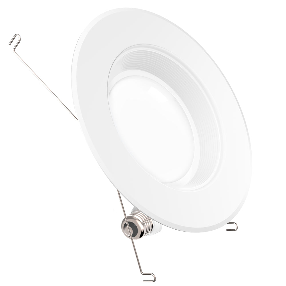 The 5- or 6-inch LED retrofit downlight from Sunco Lighting includes baffle trim, an E26 adapter, TP24 connector, adjustable mounting clips, and a long lifetime LED with 35,000 lifetime hours. This 13W LED is a 75W equivalent. That means you save energy when you switch to this LED from more traditional light bulbs. This bright LED provides 1050 lumens in a 90-degree beam angle.