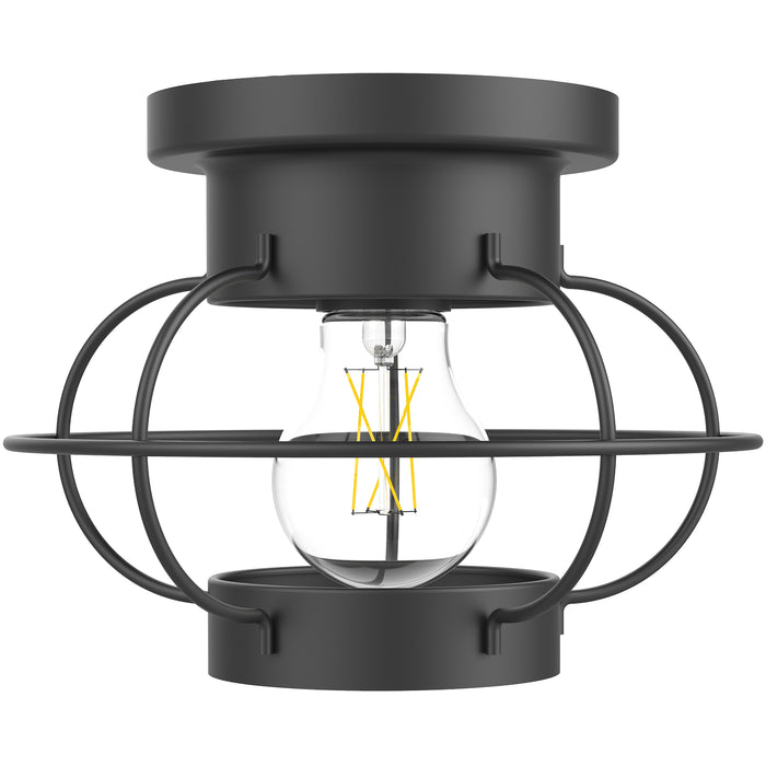 With fast install and a durable steel frame this Bayview Industrial Ceiling Light is ready to accent your interior and damp rated spaces. This nautical ceiling light includes an E26 socket inside its steel cage to hold the included A19 LED Filament Bulb, which casts a warm glow with its 2700K color temperature. The included bulb is dimmable. This light fixture accepts LED light bulbs (up to 15W) or traditional bulbs (60W). This light fixture is ETL and RoHS certified.