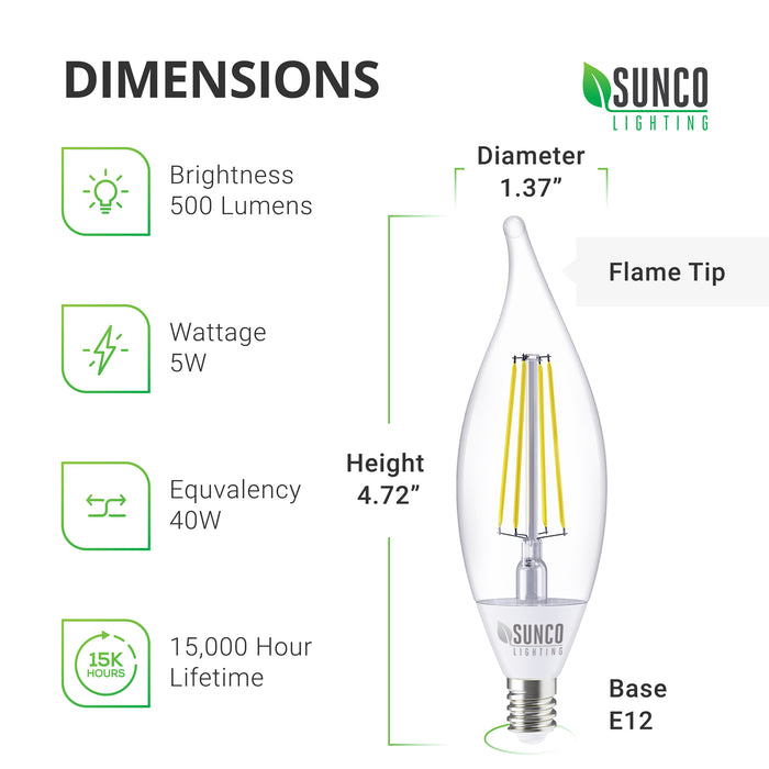 Dimensions of CA11 LED Candelabra Filament Bulb with Dusk to Dawn sensor. Note flame tip and E12 base. Height: 4.72 inches, bulb diameter: 1.37 inches. Other tech specs include brightness: 500 lumens, wattage: 5W, equivalency: 40W, lifespan: 15,000 hour lifetime. This product, along with all Sunco LED Light bulbs with dusk to dawn capabilities, is wet rated for exterior lighting. The candle tip offers an accent light and is perfect in sconces, outdoor chandeliers, porch lights, and wall lanterns.