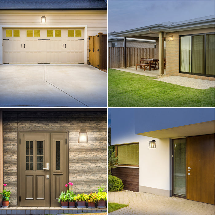 The sleek, modern look of the Sunco Cambria Caged Wall Sconce looks great on these four exterior lighting applications at residential homes and businesses. Seen here: above a garage door for automated  light at night due to its Dusk to Dawn capabilities, on the wall of a backyard near a patio area, beside a front door of a home, and installed beside the front entrance of a restaurant for automated lighting without a timer.
