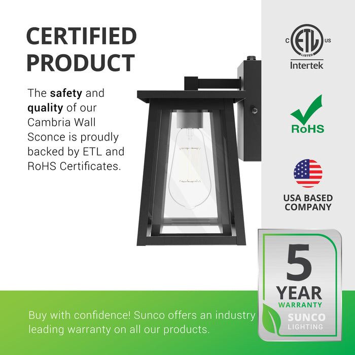 Certified Product. The safety and quality of our Cambria Caged Wall Sconce is proudly backed by ETL and RoHS certificates. Sunco offers an industry leading warranty on all our products. Sunco is American owned and operated. This product is backed by a 5-year warranty. Image shows a side view of the wrought iron frame with clear glass panes.