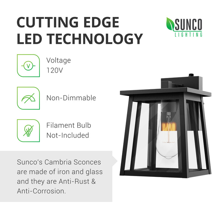 Cutting Edge LED Technology. Sunco's Cambria Sconces are made of wrought iron. They are anti-rust and anti-corrosion to resist the elements. These 120V, wet rated lighting fixtures are best used outdoors to apply their Dusk to Dawn technology to your outdoor lighting. This is a non-dimmable fixture. Filament bulb shown in the E26 socket is not included with the sconce.