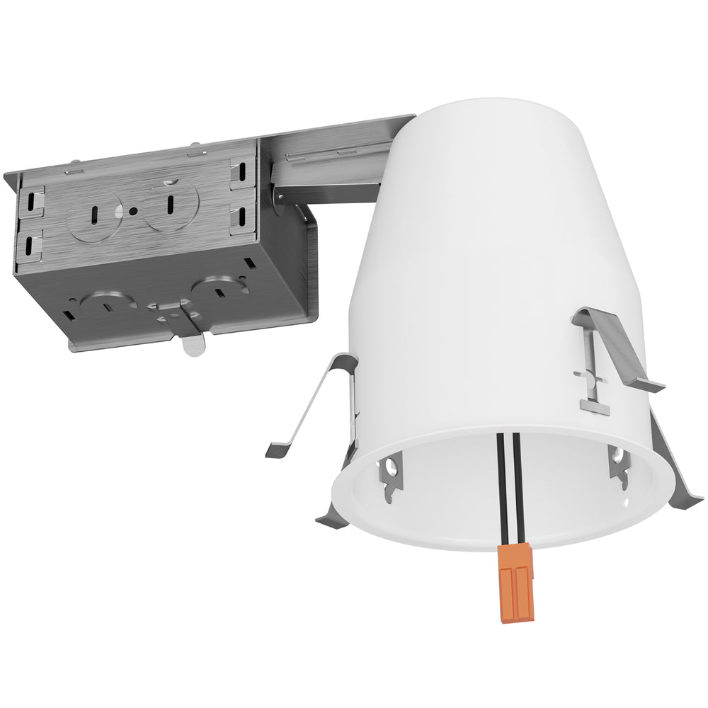 4-inch recessed can with attached junction box, airtight housing, and TP24 connector is easy to install. Here you can see the various knockouts in the j-box, along with the durable mounting clips that connect this can to your ceiling. This is an IC rated unit to install near insulation in your ceiling.