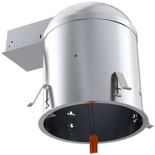Sunco airtight and IC Rated 6-inch remodel cans accept LED retrofit downlights (sold separately) with the included TP24 connector. In this image the connected junction box, flexible conduit, TP24 connector, and mount clips are visible. The remodeling or mount clips push from inside the can to secure the can to the ceiling. Running on 120/277V, this can helps you remodel finished ceilings with downlight without tearing up your ceilings. Bulk Buyer Options Available!