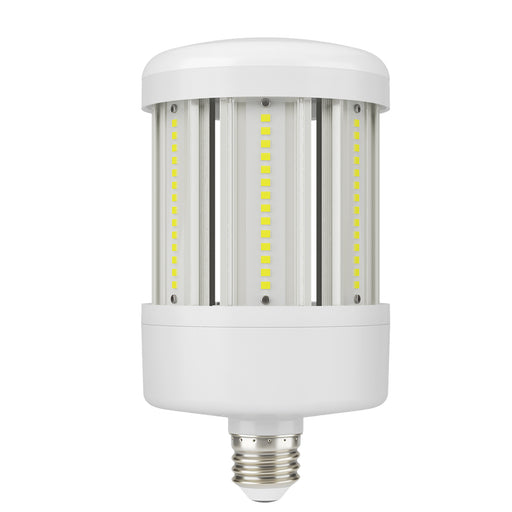 Sunco Corn Bulb LED Bulb, 50W hero graphic with E26 base and omnidirectional LED chips.