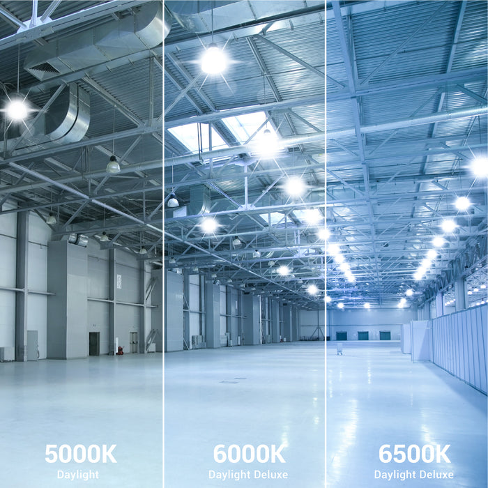 Sunco LED Corn Bulb 50W is available in multiple color temperatures: 5000K Daylight, 6000K Daylight Deluxe, and 6500K Daylight Deluxe. The image shows a warehouse with bright LED Corn Bulbs (5500lm) illuminating the space with task lighting from inside high bay fixtures.