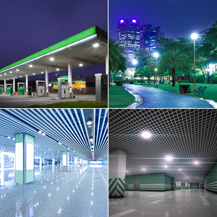 This image shows applications for the Sunco LED Corn Bulb, 50W. Features a gas station canopy, pole top lights in a park, large downlights in a retail mall space, and ceiling lights in an underground parking garage.