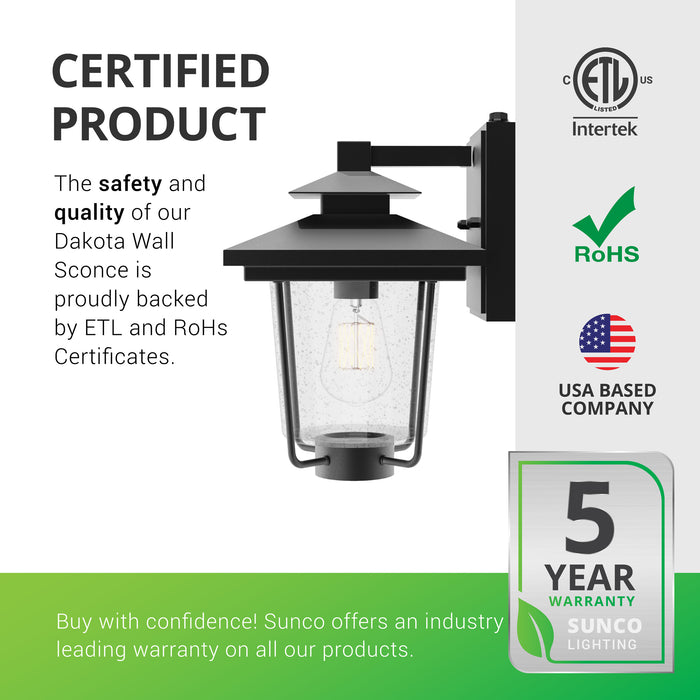 Certified Product. The safety and quality of our Dakota Caged Wall Sconce with Dusk to Dawn is proudly backed by ETL and RoHS certificates. Sunco offers an industry leading warranty on all our products. Sunco is American owned and operated. This product is backed by a 5-year warranty. Image shows the seeded glass shade inside the waterproof, wrought iron frame.